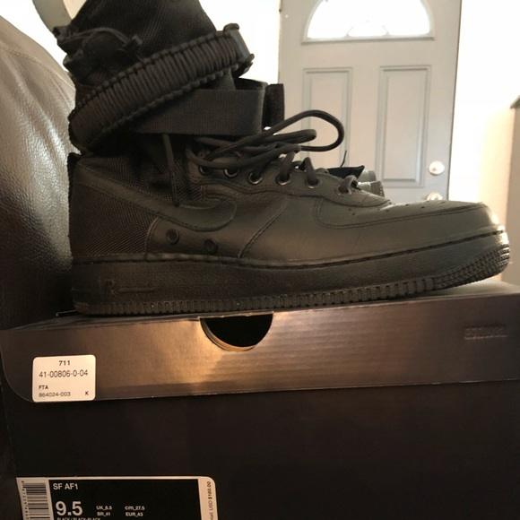 SF Air Force 1 high top triple black. 9.5